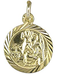Mens 9ct Gold Round Diamond Cut St Christopher Pendant On A Curb Necklace