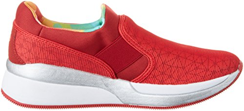Lotto Sport Iris Lf Amf W, Baskets Basses Femme Rouge (Red Fl/red Rsp)