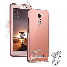 Malloom funda para Xiaomi Redmi Hongmi Note 3 , Caso parachoques metal delgada PC Espejo de la contraportada case (oro rosa)