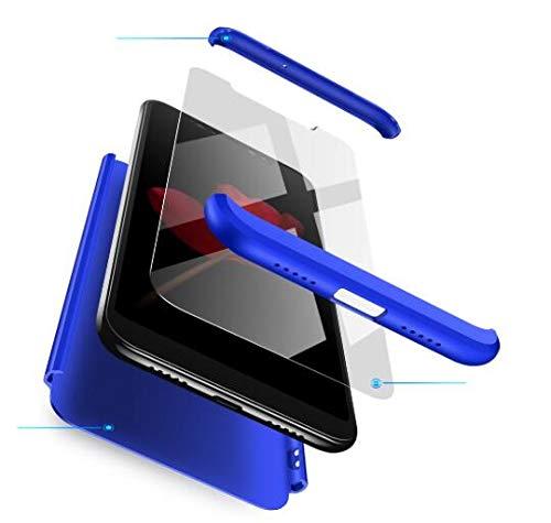 AKC Funda Compatible Xiaomi Redmi 5 Plus con 360°Todo Incluido Anti-Scratch, con 2 * HD Vidrio Templado Carcasa Case,Ultra Fina 3 en 1 Hard PC Caja Cover Resistente al Desgaste-Azul
