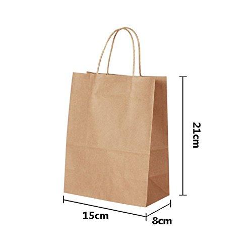 Yalulu 20 Stück Braun Kraftpapier Papier Partytüten Tasche Paper Bag Papiertragetaschen Geschenktasche mit Griffen (21*15*8cm)