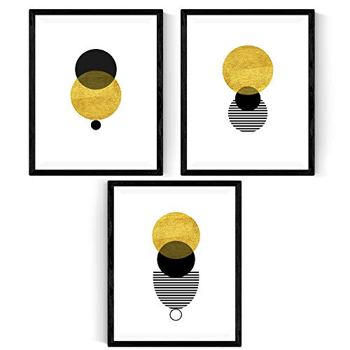 Nacnic Set de 3 láminas para enmarcar Eclipse Solar Posters Estilo nórdico para la decoración del hogar. Tamaño A4.