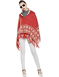 Cayman Rust & Beige Patterned Reversible Acrylic Wool Poncho Sweater