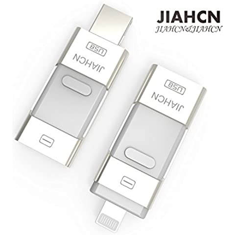 JIAHCN [Apple usb memoria] 3en1 USB Flash Drive memoria externa 16GB 32GB 64GB 128GB para Apple iPhone SE/5/5s/5c/6/6 Plus/6s/6s Plus/iPod touch 5/iPod nano 7/iPad Mini 1 2 3/ iPad 4/ Pro/ Air 1/ 2/Computadora Mac PC portátil
