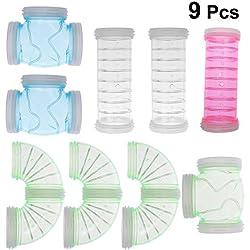 Balacoo Tubo para Deportes de Jaula de hámster de plástico para túneles para Mascotas de 9 Piezas para Animales pequeños (Color Aleatorio)
