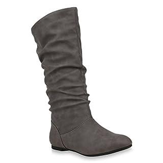 Damen Schlupfstiefel Warm Gefütterte Stiefel Leder-Optik Schuhe 153345 Grau Carlet 39 Flandell