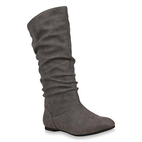 Stiefelparadies Damen Schlupfstiefel Warm Gefütterte Stiefel Leder-Optik Schuhe 153345 Grau Carlet 40 Flandell