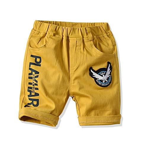 EULLA Baby Jungen Kinder Pants Buchstabe Hose Babyhose, 02-gelb, 104 (Herstellergröße: 110) -