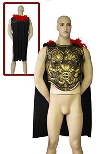 m Brustpanzer mit Cape Umhang Federn Warrior Kostüm Kämpfer, Mehrfarbig (Viktorianischen Diener Kostüme)