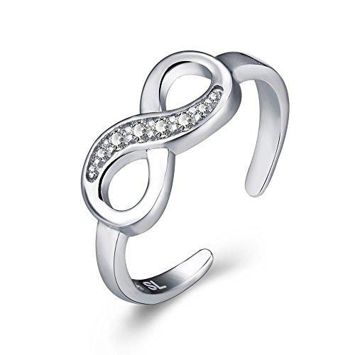 Damen Sterling Silber Zehenring Shinny Infinity Manschette Stil Midi Finger Knuckle Ring-mit Geschenkbox (verstellbar)