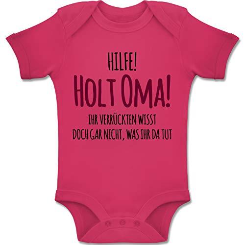 Shirtracer Sprüche Baby - Hilfe Holt Oma - 1-3 Monate - Fuchsia - BZ10 - Baby Body Kurzarm Jungen Mädchen (Kleidung Für Spaß, Mädchen)