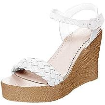 Minetom Sandali Donna Estivo Eleganti Tacco Zeppa Espadrillas Oro Moda  Casual Sexy High Heels Roman Sandals b0a10bbe037