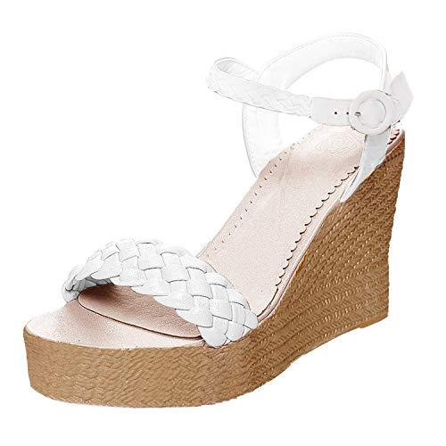 Minetom Damen Sandalen Sommer Schnalle Wedge Absätze Peep Toe Römersandalen Strand Elegant Sexy Mode Sandal Schuhe Weiß EU 39 -