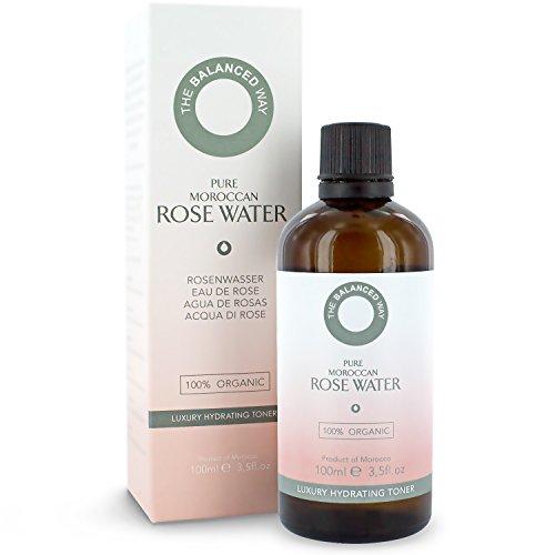 Tónico de Agua de Rosas 100% pura, orgánica, para el rostro, cuerpo y cabello – 100ml – Hecho en Marruecos, triplemente purificado, sin alcohol – Tónico hidratante anti envejecimiento / antiarrugas con propiedades antiinflamatorias relajantes