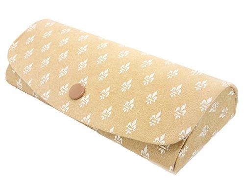 Fleur De Lis Hartschale Metall Brillen Fall mit Geschenkbox, Braun - Damen-fleur De Lis