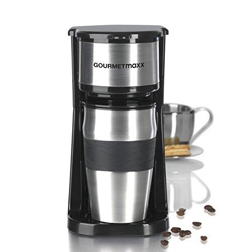 GOURMETmaxx Edelstahl-Kaffeemaschine Thermobecher in Schwarz Single