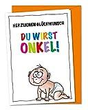 XL Glückwunschkarte Du wirst Onkel, Babykarte, Schwangerschaftskarte - inklusive Umschlag (DIN A5)