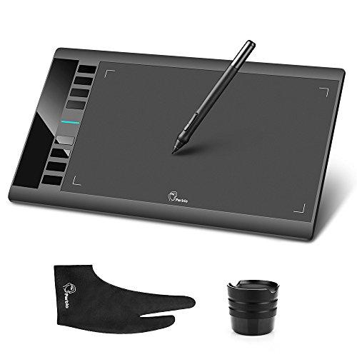 Parblo A610 10 x 6 Zoll Grafiktablett mit 8 Express-Tasten und batterielosem Grafiktablett-Stift Zwei-Finger-Handschuh, Unterstützung für Windows 10/8/7 und Mac
