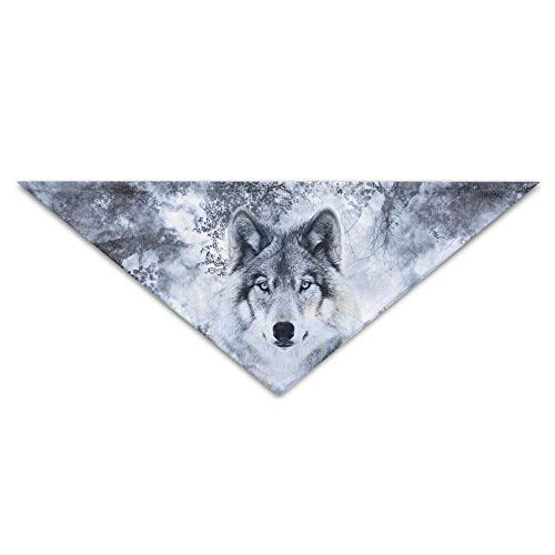 Wfispiy Wolf in Trees of Forest Dog Bandanas Scarves Triangle Bibs Scarfs Fashion Basic Neckerchief Cat Collars