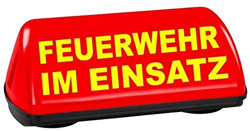 PACO Deutschland e.K. Dachschild SPEED leuchtrot Feuerwehr im Einsatz TÜV geprüft bis 240 km/h Textfarbe gelb unbeleuchtet