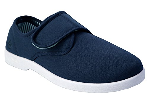 New Mens Dr Keller Canvas Wide Fit Comfort Velcro Strap Bar Deck...