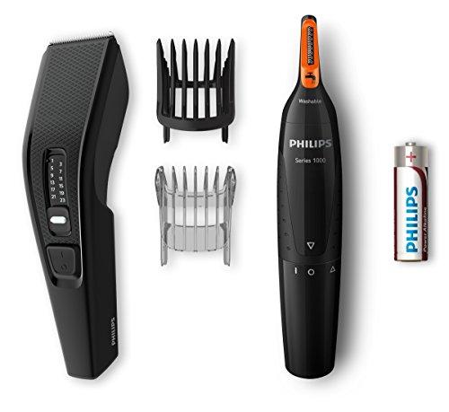 Philips Serie 3000 HC3510/85 - Pack CortaPelos y Naricero, Ajuste Fino cada 0.2 mm para Estilo Deseado, Uso con Cable