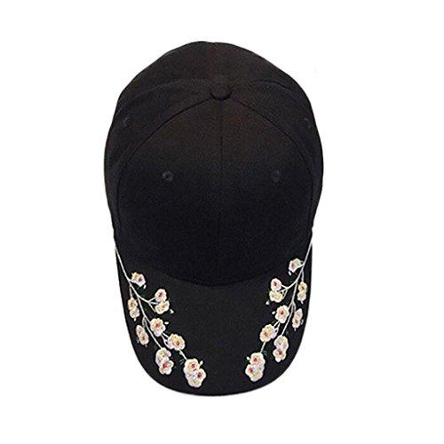 Bovake Frauen-Stickerei-Baumwoll-Baseballmütze-Hysteresen-Kappen Hip Hop-Hüte (Black) (Basic Einstellbare Hut Logo)