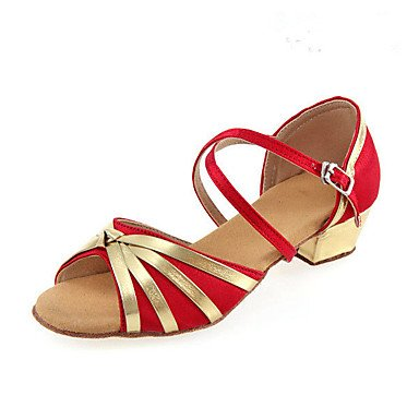 XIAMUO Nicht anpassbare Kid und Women's Dance Schuhe Fabric Fabric Latin Fersen Ferse Anfänger Schwarz Blau Rot Schwarz