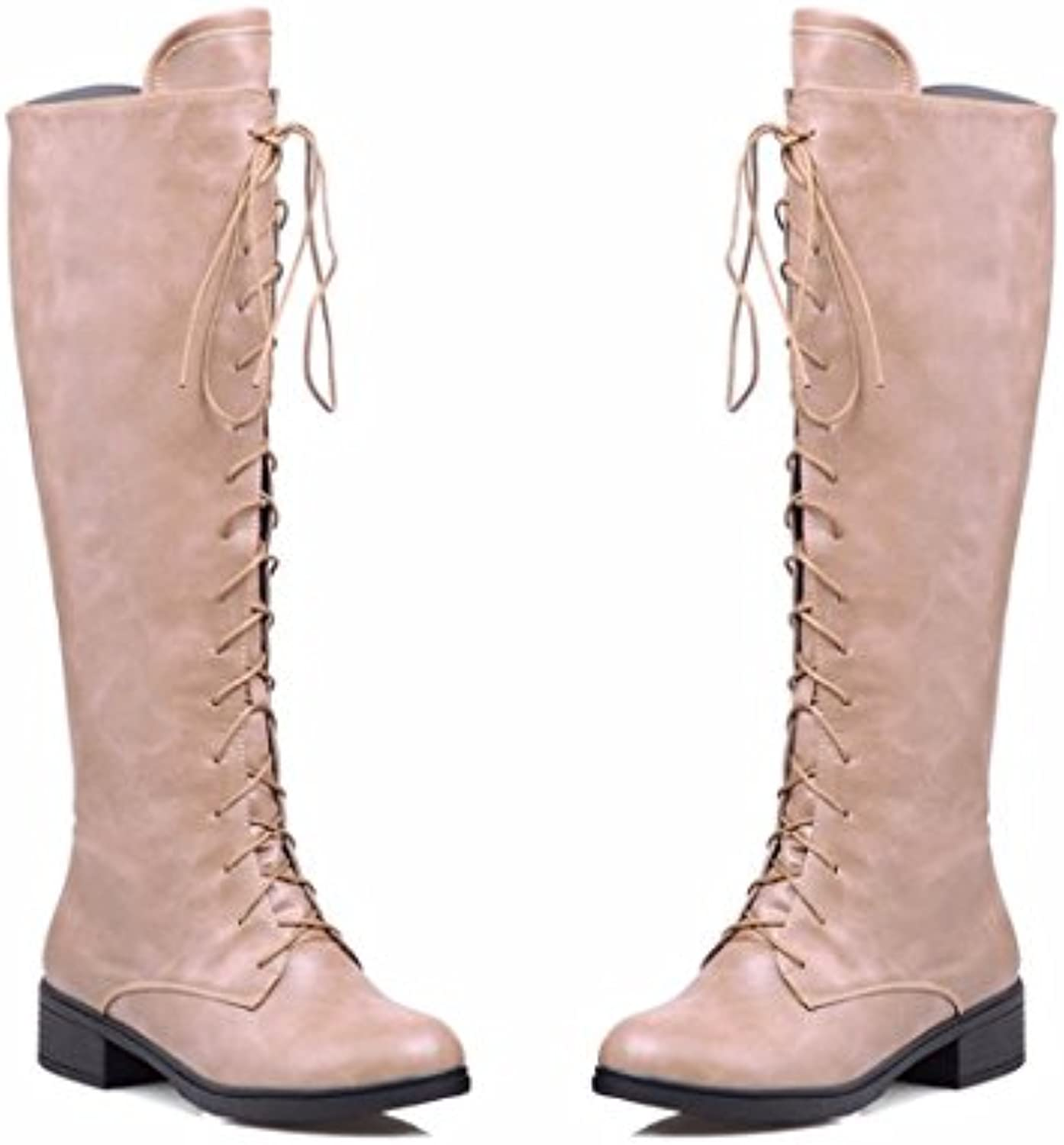 RFF-WoHommes 's Shoes Autumn and and and Winter Low to High Boots High Boots Size Cylinder Cross Straps,Beige,36B075VTH1JSParent   Sale    Une Performance Fiable  c36480