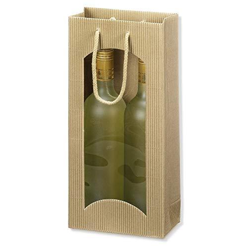 20 x 2er Flaschen-Tragekarton, Flaschentragetasche, Weinverpackung, Weintragetasche mit Sichtfenster, offene Welle, 10 x 8,5 x 36 cm, Natur