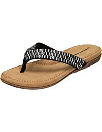 Dunlop Damen aufziehschuhe Zehentrenner Tanga Maultier Typ Sandalen mit Gespiegelt Edelstein Verzierung Zu Thonh...