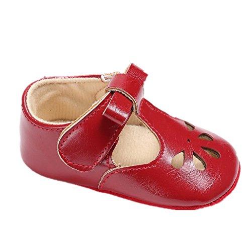 Auxma Baby Mädchen Hohl Bowknot Soft-Soled Prinzessin Schuhe Sandalen für 3-18 Monate (3-6 M, Blau) Rot