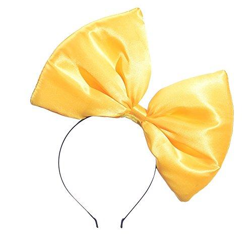 Dicomi Damen Haarschmuck Haarband Partyhochzeit Frauen Satin großen Bogen Stirnband Gelb -