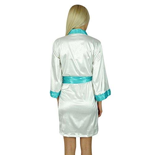 Bimba Women Short Klassische Satinrobe Getting Ready Bride Bridesmaid Robes Kimono Sleeve Coverup Weiß