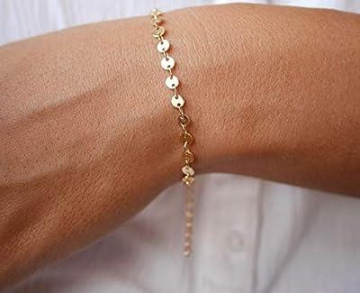 Bracelet gourmette fine plaqué or - bracelet chaine cercles dorée - bracelet minimaliste - médailles - gourmette femme doré - fin empilable