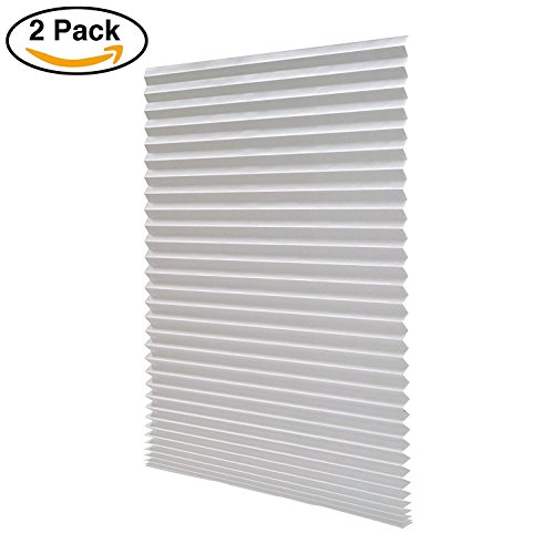 Sunfree Light Filtering Pleated Fabric Shade, Quick Fix and Easy to Install (90CMx180CM - 2 PACK, White)