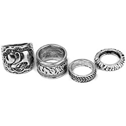 Vintages 4pcs Anillos Punk de Color Plata