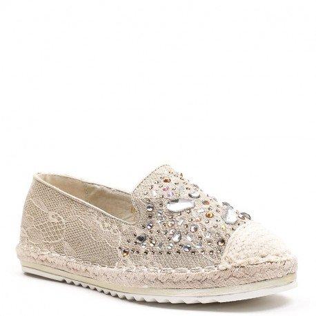 Ideal Shoes - Espadrilles avec dentelle effet pailletée et incrustés de strass Laida Doree