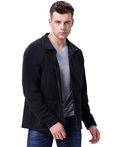 Schwarz wintermantel Herren warm Winter Fleece-Jacke Business Coat Herren wärmejacke Größe L PJ0021-1