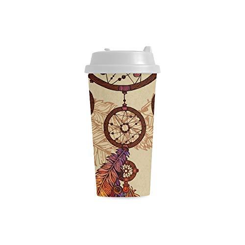 Dibujado a mano Colgante Dreamcatcher 16 oz Doble pared Plástico Aislado Deportes Tazas de botellas de agua Viaje de cercanías Tazas de café para mujeres estudiantes Leche Taza de té Bebida