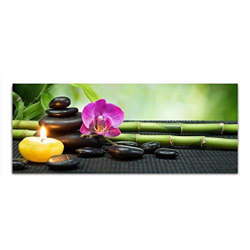 DekoGlas Glasbild 'Bambus Blume Steine Kerze' Echtglas Bild Küche, Wandbild Flur Bilder Wohnzimmer Wanddeko, einteilig 125x50 cm