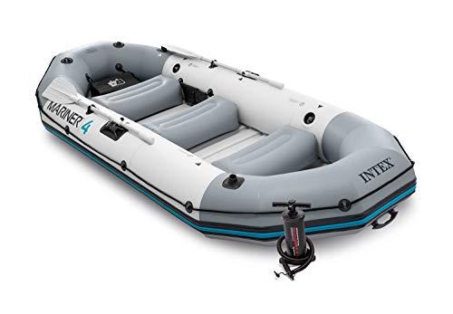 Intex Unisex- Erwachsene Schlauchboot Boot Mariner 4 Set Phthalates Free Inkl. Paddel und Luftpumpe-Professional Series, Grau, 328 x 145 x 48 cm (L x B x H)