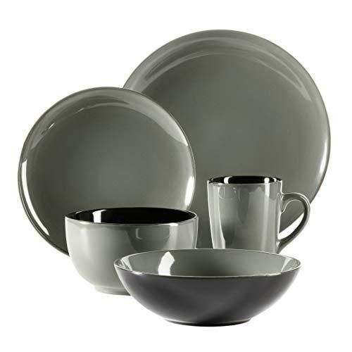 MÄSER 931457 Serie Scuro, Geschirr-Set aus Keramik für 1 Person, 5-teiliges Kombiservice, modern und mediterran, Grau, Steinzeug