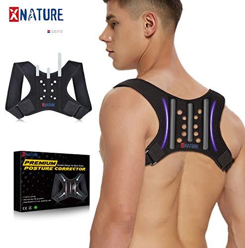 XNATURE Haltungskorrektur 3-Stab-Memory-Rückenlehne mit Faserverstärkung Posture Corrector/Verstellbarer verdeckter Rückenstrecker/Lordosenstütze Rücken Support/für Männer und Frauen geeignet