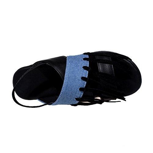 AgooLar Femme Houppe Pu Cuir à Talon Bas Ouverture D'Orteil Tire Sandales Noir