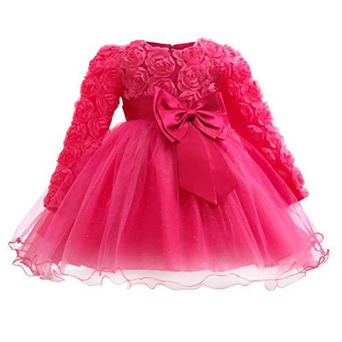 Zhhlinyuan Lässige Prinzessin Festliches Kleid für Mädchen mit Langen Ärmeln - Weihnachten Halloween Hochzeit Party Kleider Kleinkind Baby (Halloween Cocktails Für Kinder)