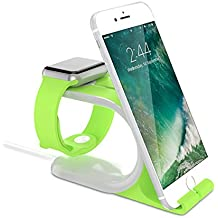 Apple Watch Stand and iPhone 6s Stand, 2-in-1 Apple Watch Smart Watch Charging Docks, Charging Stand Holder for All iWatch & iPhone & iPad Edition (Green)