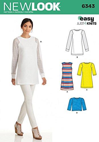 New Look Damen Schnittmuster 6343Jersey Knit Tops und Kleider (Top Knit-jersey)