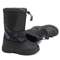 WALUCAN Boys Girls Snow Boots for Toddler Winter Outdoor Waterproof with Fur Lined(Toddler/Little Kids)-U3ELWTX02-Black Blue-35