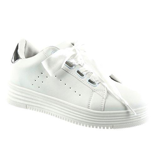 40b9ec37e0dc3a Angkorly Damen Schuhe Sneaker - Plateauschuhe - Tennis - Schnürsenkel Aus  Satin - Glänzende Flache Ferse 4 cm - Silber HX-003 T 39